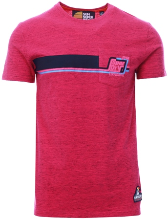 Superdry Overdyed Florida Pink Grit Malibu Mid Pocket T-Shirt  - Click to view a larger image