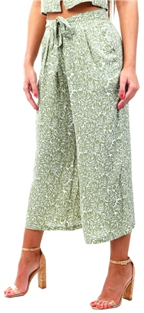 Urban Bliss Green Palm Print Culotte Trouser  - Click to view a larger image