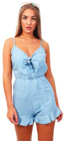 Brave Soul Blue Denim Wash Tie Front Playsuit  - Click to view a larger image
