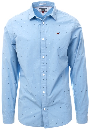 Tommy Jeans Light Blue Dobby Slim Fit Shirt  - Click to view a larger image