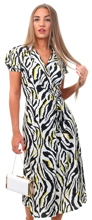Influence Neon Zebra Animal Print Midi Dress  - Click to view a larger image