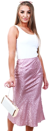 Lexie & Lola Maple Pink Leopard Satin Midi Skirt  - Click to view a larger image