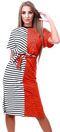 Noisy May Tangerine Tango / Leopard Print Midi Dress  - Click to view a larger image