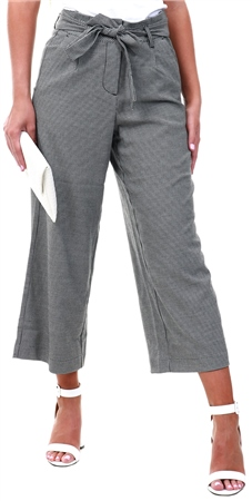 Veromoda Black/White Culotte Pattern Trousers  - Click to view a larger image