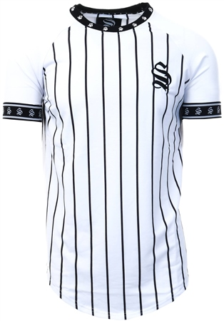 Sinners Attire White /Black Stripe Tee  - Click to view a larger image