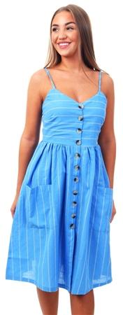 Brave Soul Blue Stripe Midi Button Dress  - Click to view a larger image