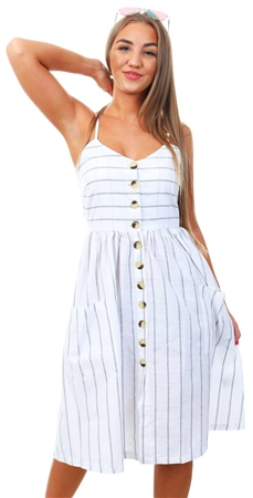 Brave Soul White Stripe Midi Button Dress  - Click to view a larger image