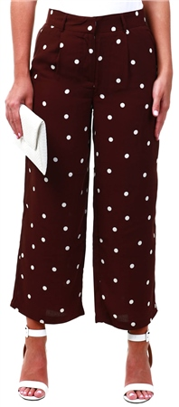 Vila Brown Polka Dot Cropped Culotte Trousers  - Click to view a larger image