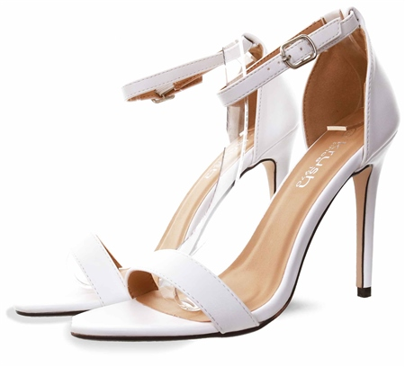 Krush White Pu Ankle Strap Shoe  - Click to view a larger image