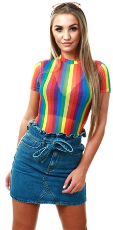 Daisy St Rainbow Short Sleeve Mesh Bodysuit  - Click to view a larger image