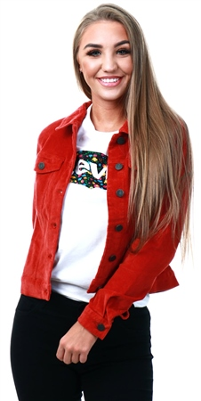 Noisy May Tadori Spice / Red Corduroy Jacket  - Click to view a larger image