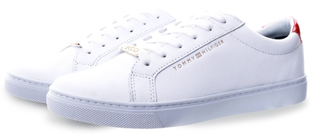 Tommy Jeans White Metallic Back Lace-Up Trainers  - Click to view a larger image