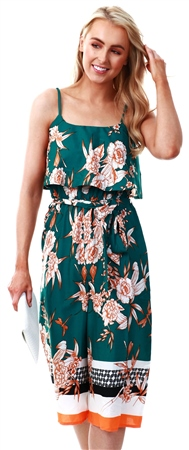 Influence Green Oriental Border Print Double Layer Culotte Jumpsuit  - Click to view a larger image