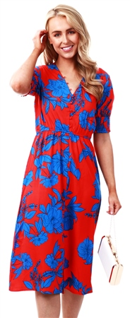 Influence Blue Red Floral Print Elastic Front Flared Sleeve Midi Dress  - Click to view a larger image