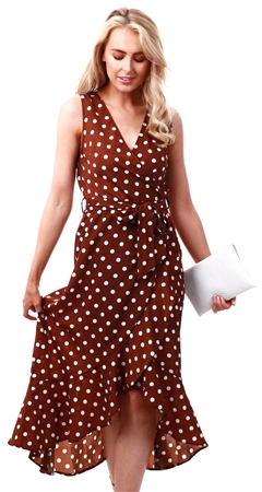 Ax Paris Brown Polka Dot Wrap Dress  - Click to view a larger image