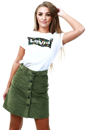 Noisy May Olive Corduroy Skirt  - Click to view a larger image