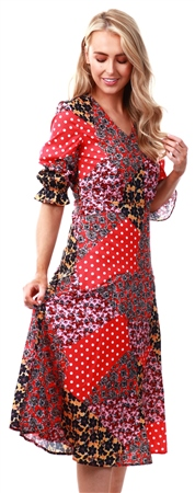Missi Lond Red Floral Pattern Midi Dress  - Click to view a larger image