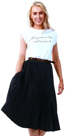 Lexie & Lola Black Satin Pleat Midi Skirt  - Click to view a larger image