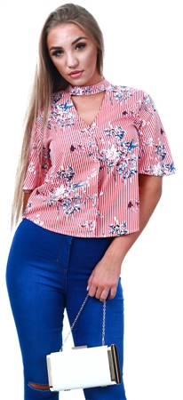Style London Red Floral Pattern Short Sleeve Shirt  - Click to view a larger image