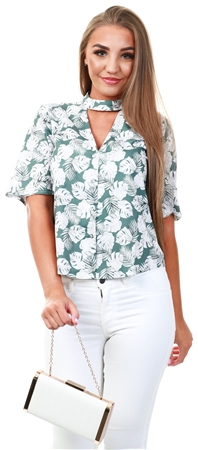 Style London Green Floral Pattern Short Sleeve Shirt  - Click to view a larger image