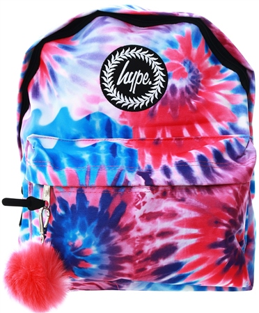 Hype Pink Wavey Pom Pom Backpack  - Click to view a larger image