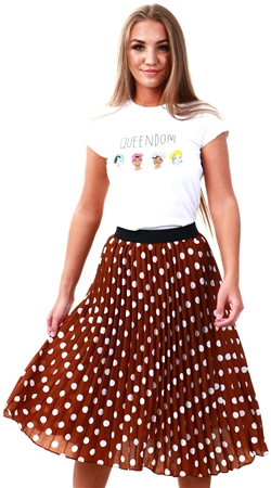 Missi Lond Brown Polka Dot Pleat Midi Skirt  - Click to view a larger image