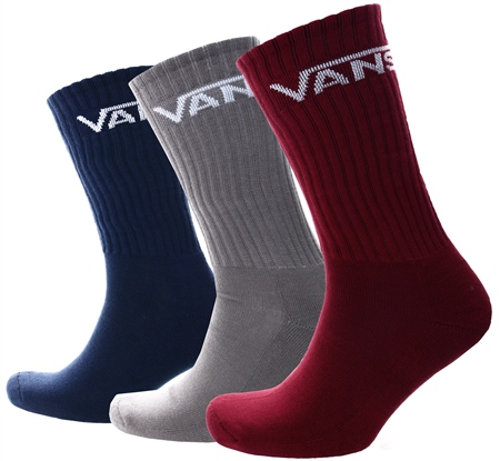 Vans Biking Red Classic Crew Socks (3 Pairs)  - Click to view a larger image