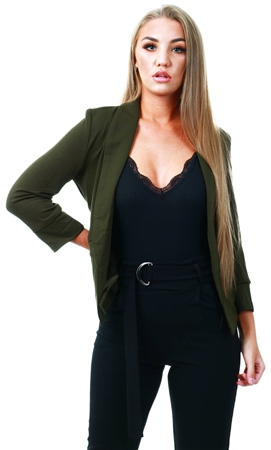 Cutie London Khaki Long Sleeve Blazer  - Click to view a larger image