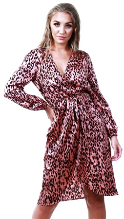 Ax Paris Pink Leopard Print V-Neck Wrap Dress  - Click to view a larger image