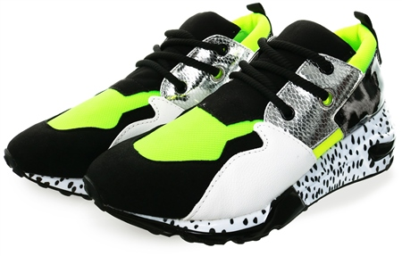 f72fc7eacdd Neon Green Cliff Animal Print Chunky Trainer - 3