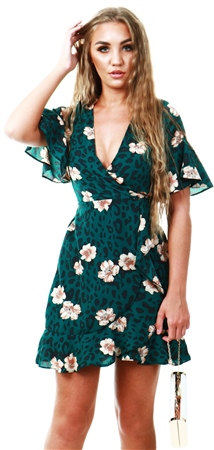 Ax Paris Green Leopard Print Wrap Dress  - Click to view a larger image
