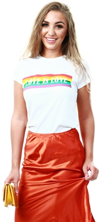 Urban Bliss White Rainbow Love Is Love Print Tee  - Click to view a larger image