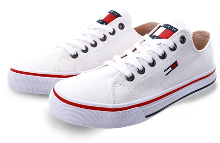 Tommy Jeans White Cotton Classic Trainers  - Click to view a larger image