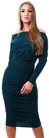 Ax Paris Teal Off Shoulder Ruched Dress  - Click to view a larger image