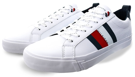 Tommy Jeans Ybr White Flag Detail Leather Trainers  - Click to view a larger image