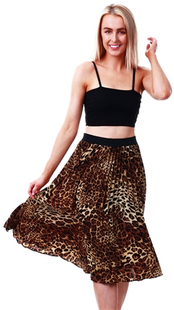 Missi Lond Leopard Print Pleat Midi Skirt  - Click to view a larger image
