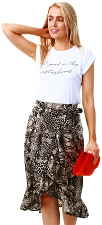 Ax Paris Grey Animal Print Wrap Frill Midi Skirt  - Click to view a larger image