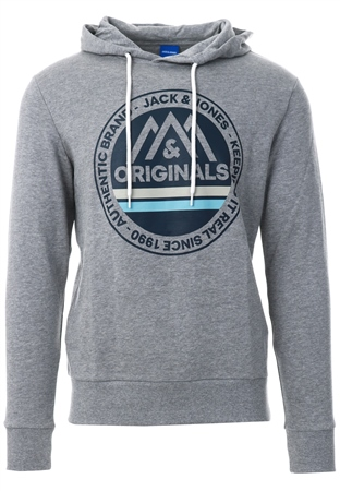 Jack & Jones Light Grey Front Logo Print Hoodie  - Click to view a larger image