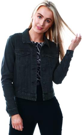 Noisy May Black / Black Short Denim Jacket  - Click to view a larger image