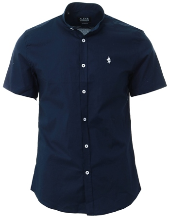 Alex & Turner Navy Short Sleeve Granda Collar Shirt  - Click to view a larger image