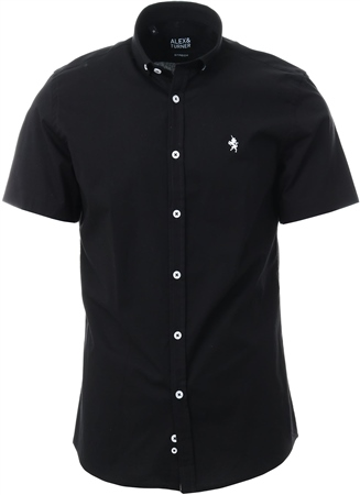 Alex & Turner Black Short Sleeve Button Shirt  - Click to view a larger image