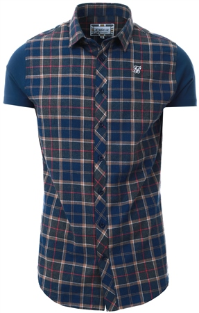 Siksilk Navy/Grey/Beige S/S Flannel Standard Shirt  - Click to view a larger image
