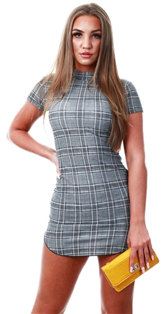 Ax Paris Check Print High Neck Bodycon Dress  - Click to view a larger image