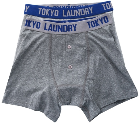Tokyo Laundry Grey /Blue 2 Pack Boxers  - Click to view a larger image