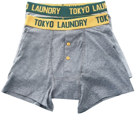 Tokyo Laundry Green /Grey 2 Pack Boxers  - Click to view a larger image