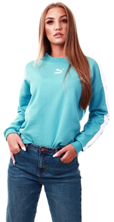 Puma Milky Blue Classics T7 Crew Neck Women's Sweater  - Click to view a larger image
