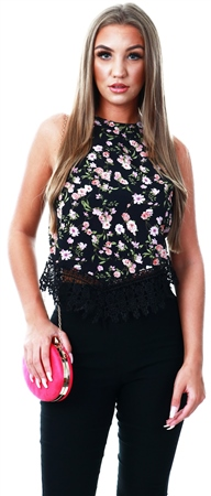 Glamorous Black Floral Print Lace Trim Top  - Click to view a larger image