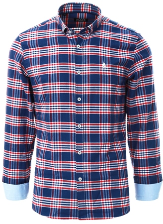 Alex & Turner Navy / Red Check Long Sleeve Shirt  - Click to view a larger image