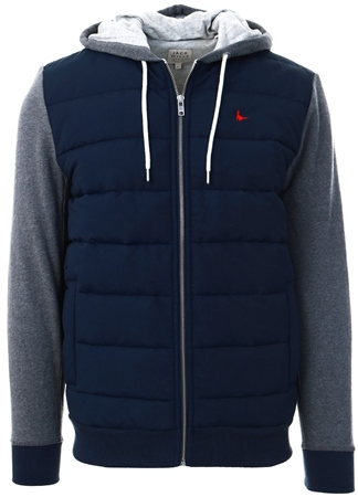 Jack Wills Navy Burston Hybrid Hoodie  - Click to view a larger image