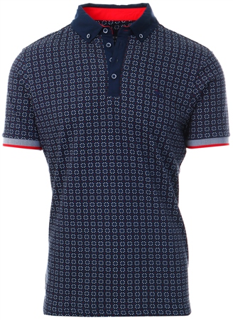 Bewley & Ritch Navy Patterned Polo Shirt - Wak  - Click to view a larger image
